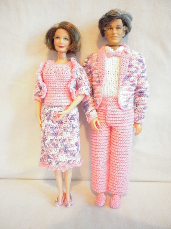 Crochet Grandma Barbie Dress & Grandpa Barbie Tuxedo