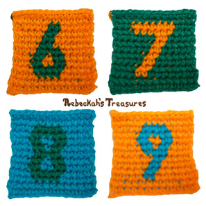 Numbers 6-9 Tapestry Crochet Graph Patterns via @beckastreasures