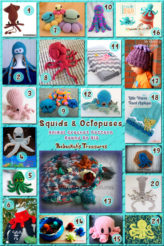 Squids & Octopuses - Animal Crochet Pattern Round Up via @beckastreasures