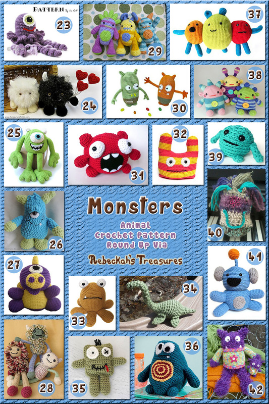42 Marvelous Monster Toys Part B – via @beckastreasures with @FreshStitches | 3 Monster Animal Crochet Pattern Round Ups!