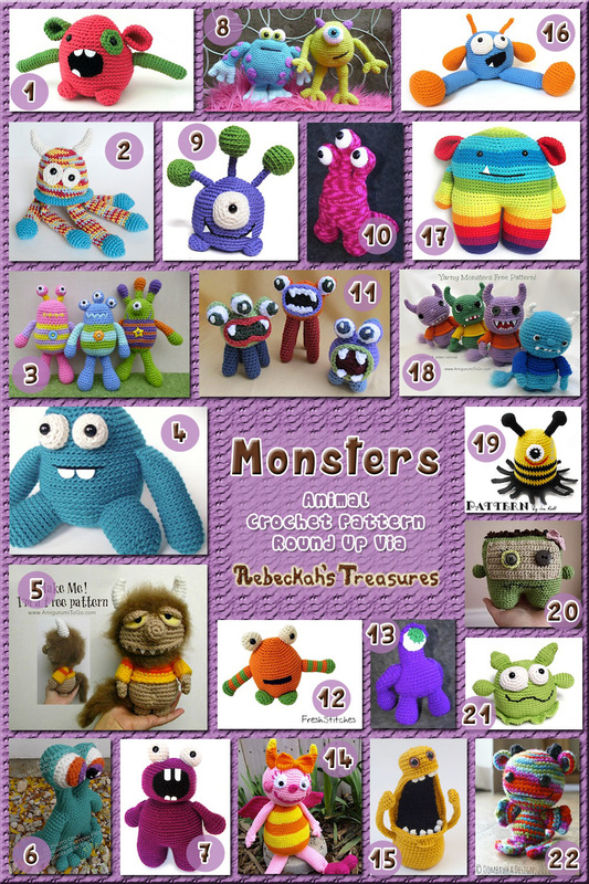 42 Marvelous Monster Toys Part A – via @beckastreasures with @sharonojala | 3 Monster Animal Crochet Pattern Round Ups!