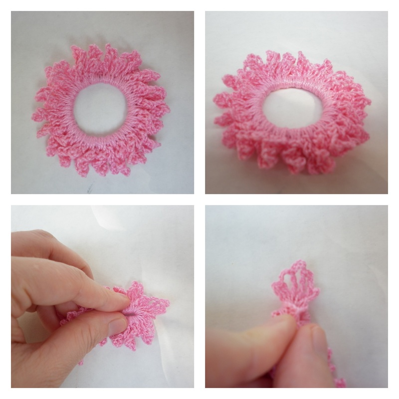 Commissioned Pink Crochet Little Girl Scrunchies