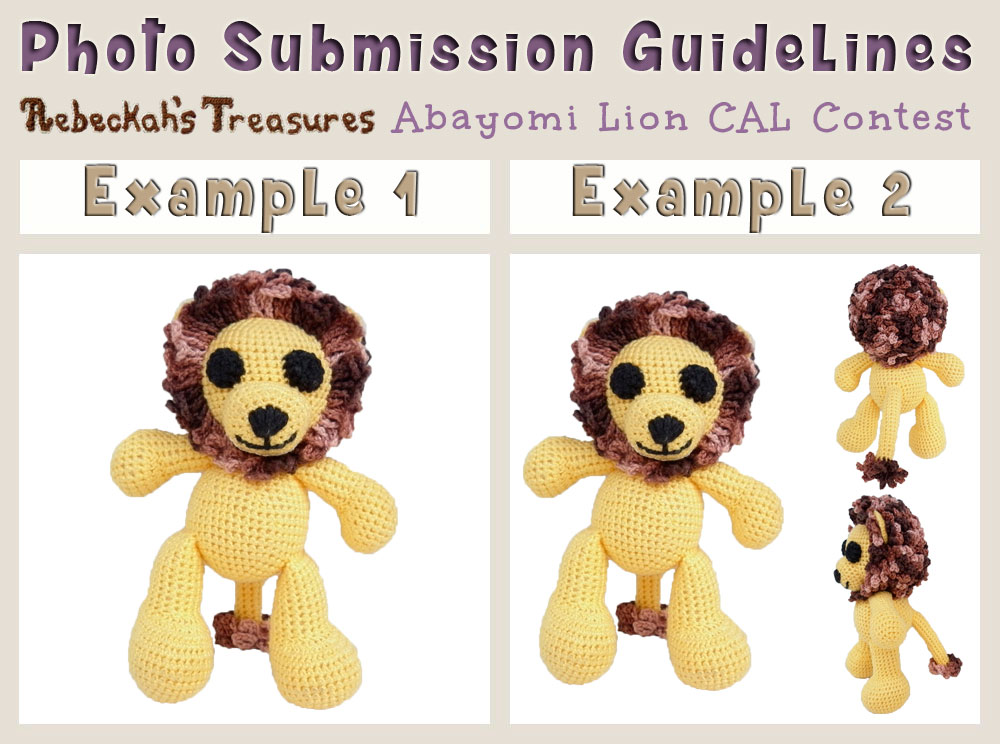 Photo Submission Guidelines for the Abayomi Lion CAL Contest via @beckastreasures