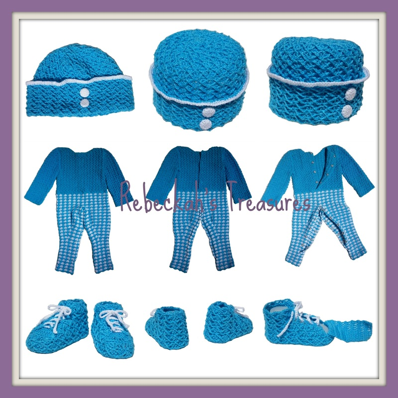 Rebeckah's Treasures' Crochet Criss Cross Diamond Romper Layette All Views