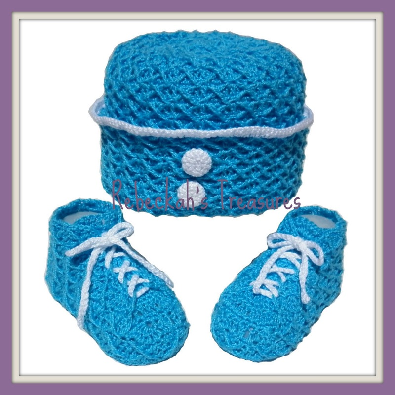 Rebeckah's Treasures' Crochet Criss Cross Diamond Romper Layette Hat & Booties