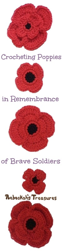 Crochet Remembrance Poppies ~ Free Pattern