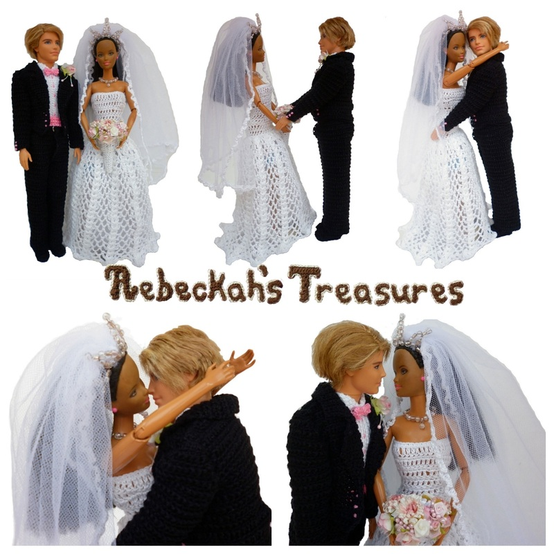 Crochet Barbie Wedding Set for Isabel by Rebeckah's Treasures ~ The Happy Couple