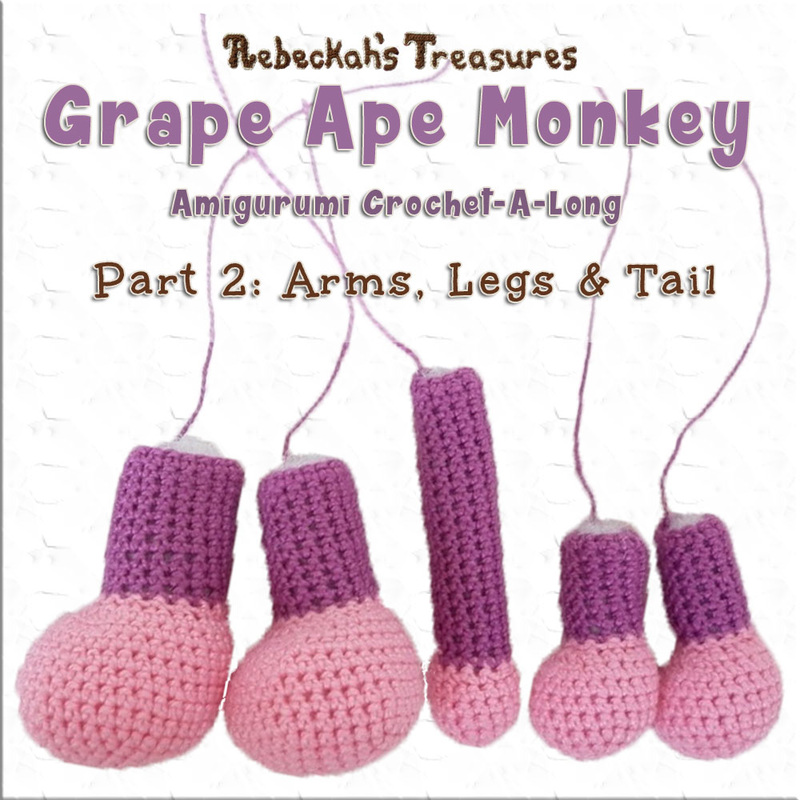 Amigurumi Grape Ape Monkey Cal - Part 2 via @beckastreasures / It's time to crochet Grape Ape's arms, legs & tail...