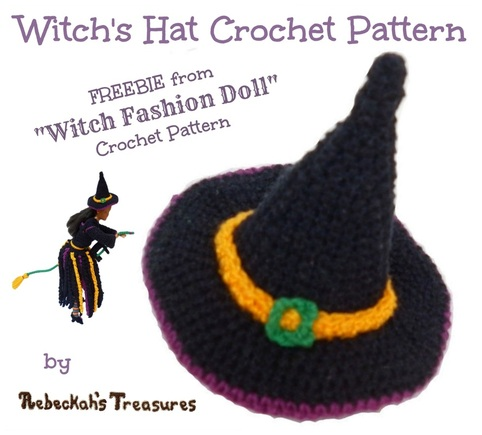 Crochet Barbie Witch Hat Free Pattern by Rebeckah's Treasures