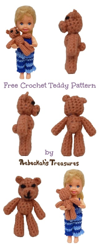 Kelly's Crochet Teddy for Barbies