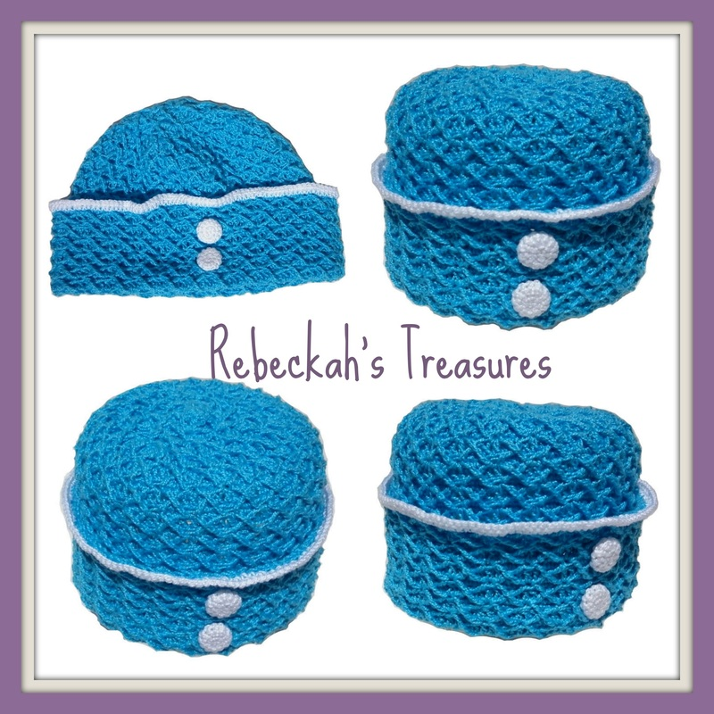 Rebeckah's Treasures' Crochet Criss Cross Diamond Romper Layette Hat