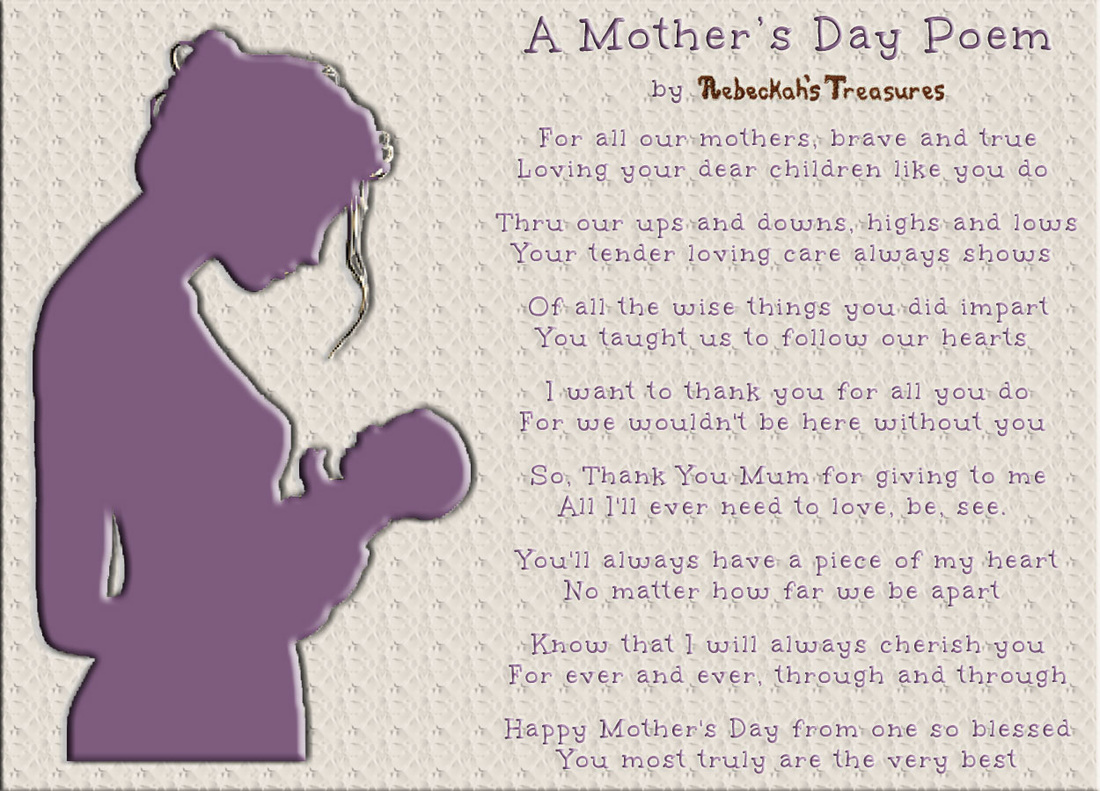 A Mother's Day Poem by Rebeckah's Treasures via @beckastreasures