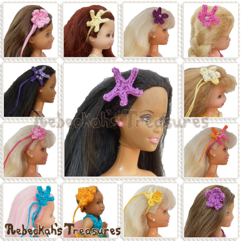 Introducing Mermaid Hair Accessories for fashion dolls of all sizes! | crochet patterns via @beckastreasures | A mix and match bundle with many possibilities - customizable, quick, easy and stylish! #hair #Barbie #crochet #mermaid #starfish #seaflower