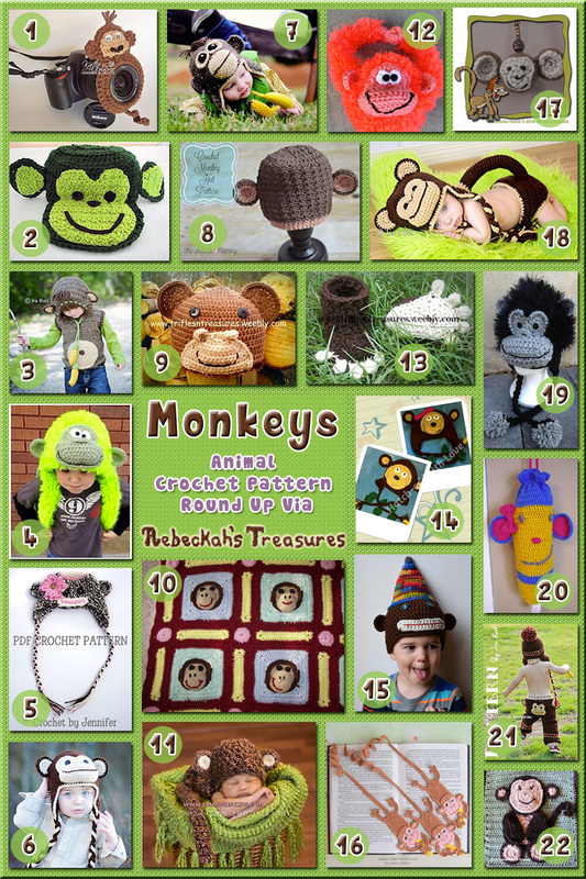 22 Marvelous Monkey Hats, Accessories, NB Props & MORE – via @beckastreasures with @SnappyTots | 4 Monkey Animal Crochet Pattern Round Ups!