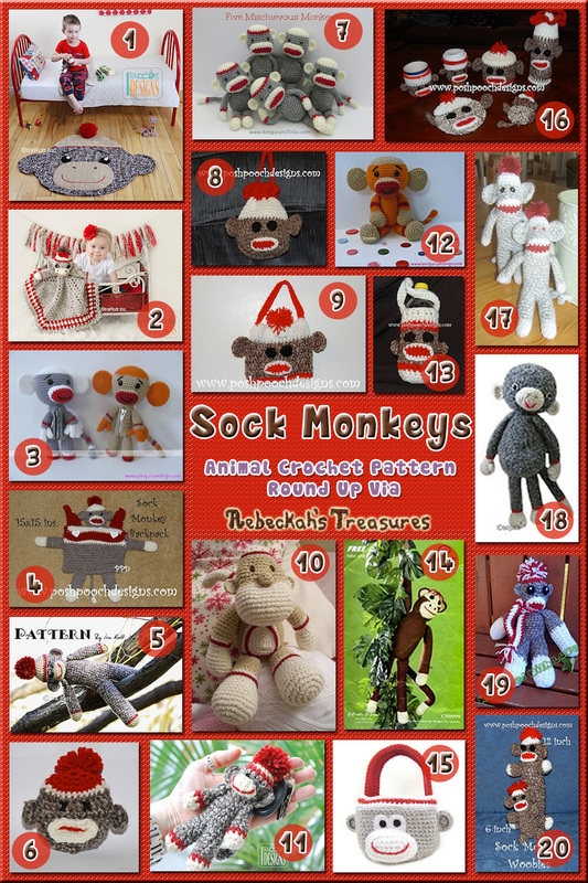 Sock Monkey Toys & Accessories - Animal Crochet Pattern Round Up via @beckastreasures