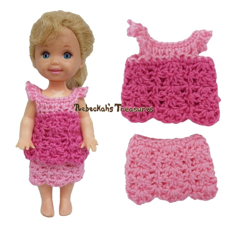 Simple Top 8 + Simple Skirt 6 ~ Pretty in Pink Free Crochet Pattern for Children Fashion Dolls by Rebeckah's Treasures