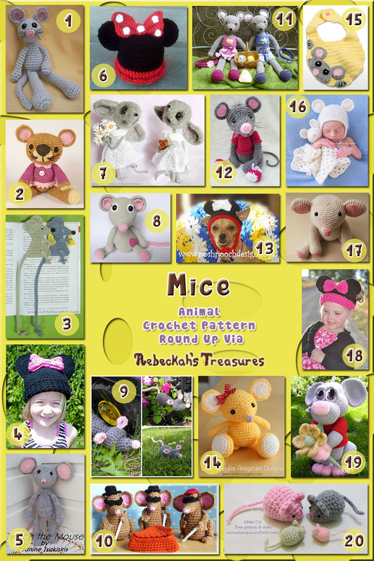 Mice Part 1 - Animal Crochet Pattern Round Up via @beckastreasures