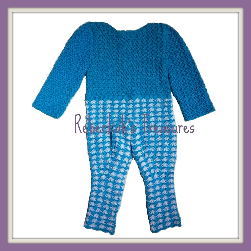 Rebeckah's Treasures' Crochet Criss Cross Diamond Romper Layette Front View