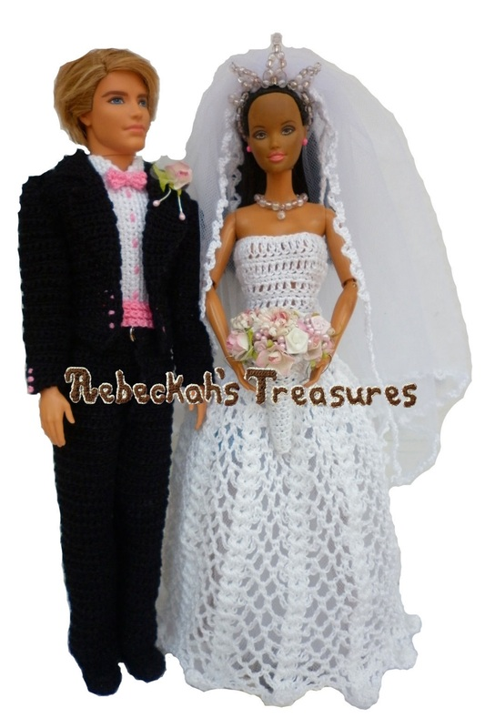 Crochet Barbie Wedding Set for Isabel by Rebeckah's Treasures ~ Presenting Mr. & Mrs. Barbie Ken