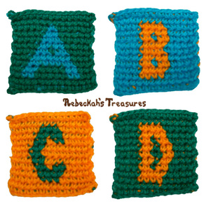 Tapestry Crochet Squares A-B–C-D (for ABC Blocks) Pattern by @beckastreasures