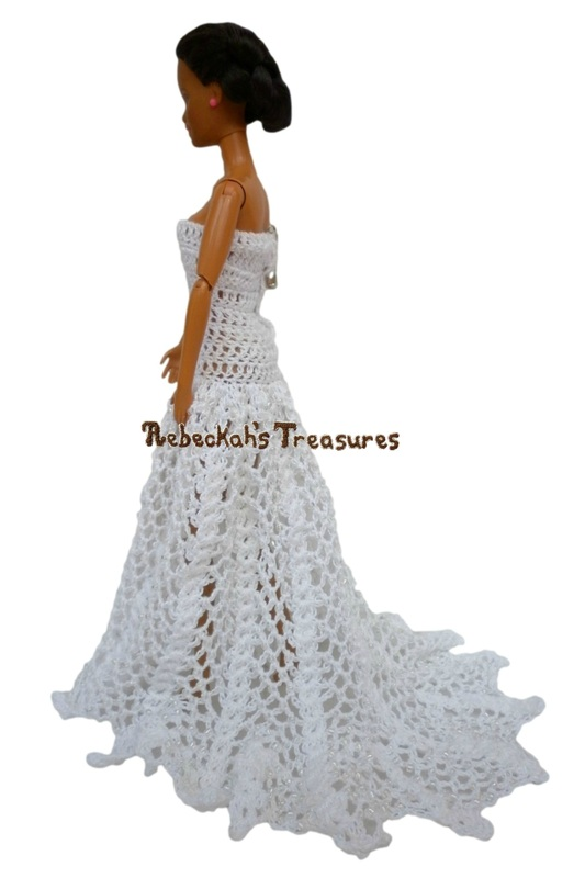 Straight-Across, Strapless A-Line Barbie Wedding Dress with a Train
