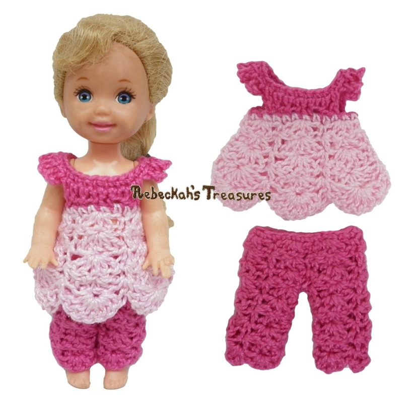 Dressy Top 8 + Pants 10 ~ Pretty in Pink Free Crochet Pattern for Children Fashion Dolls by Rebeckah's Treasures