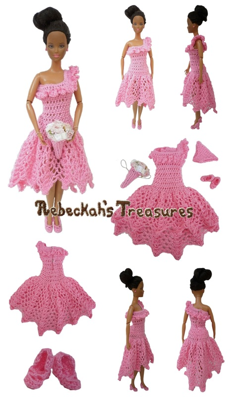 Crochet Barbie Wedding Set for Isabel by Rebeckah's Treasures ~ Barbie's Bridesmaid with Asymmetrical Neckline