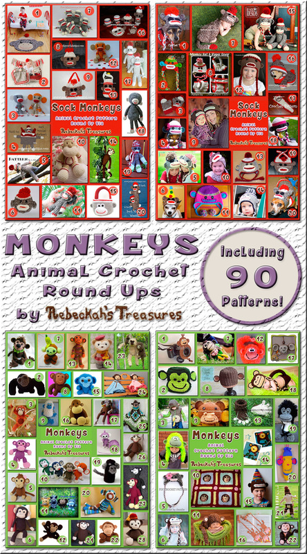 Monkey Round Ups by @beckastreasures | 90 patterns – 36 designers including @PoshPoochDesign @sharonojala @SnappyTots @FreshStitches & more!