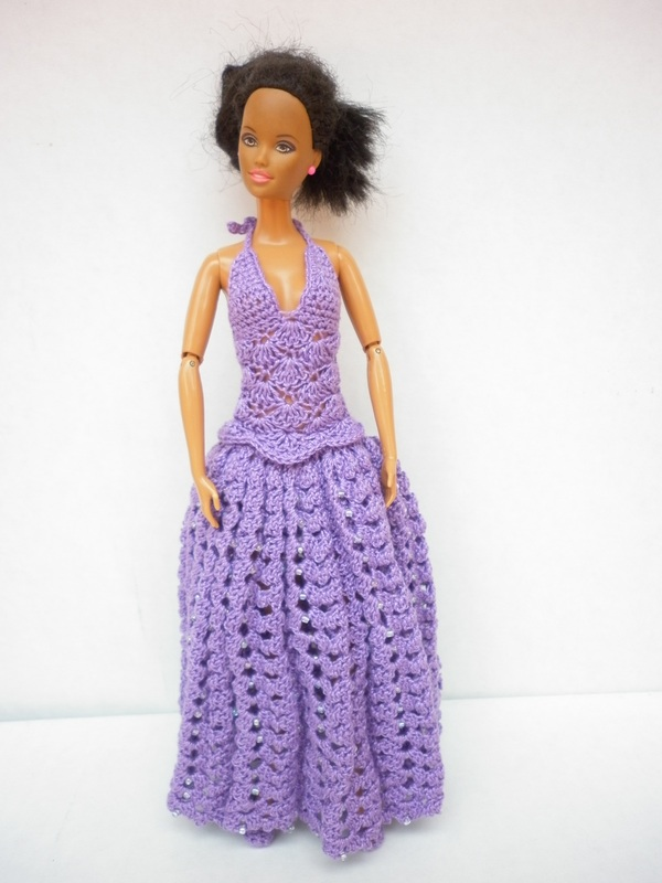 Crochet Barbie Dress w/Beads