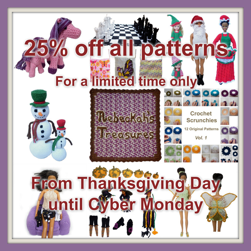 Thanksgiving Sale 25% off all Rebeckah's Treasures' Patterns
