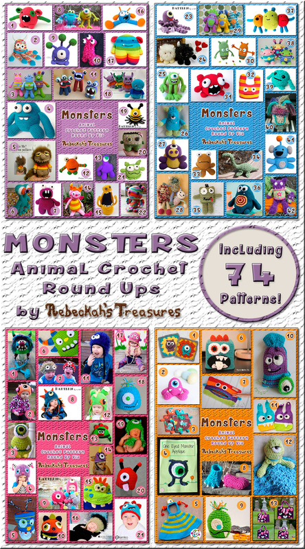3 Monster Round Ups by @beckastreasures | 74 patterns – 27 designers including @FreshStitches @SnappyTots @RepeatCrafterMe & more!