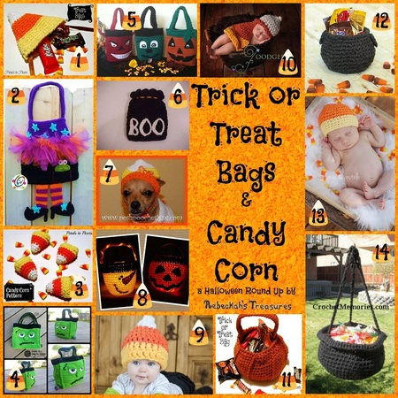 Trick or Treat Bags & Candy Corn Crochet Round Up