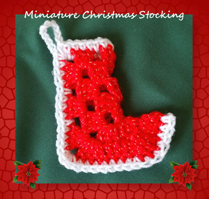 Miniature Christmas Stocking by Cylinda of Crochet Memories - Featured on @beckastreasures Saturday Link Party!