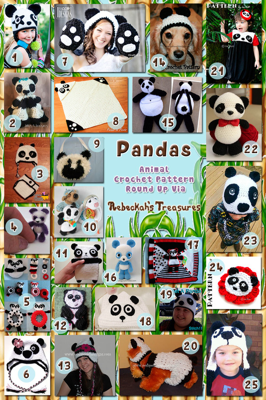 Pandas - Animal Crochet Pattern Round Up via @beckastreasures