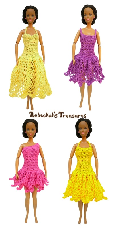 4 More Colourful Barbie Dresses ~ From Top-Left: 1. Sweetheart Halter Strap A-Line Summer Dress;  2. Spaghetti Strap Square A-Line Dress; 3. Left Asymmetrical Mini Ball Gown Dress; 4. Halter Strap Ball Gown Summer Dress.