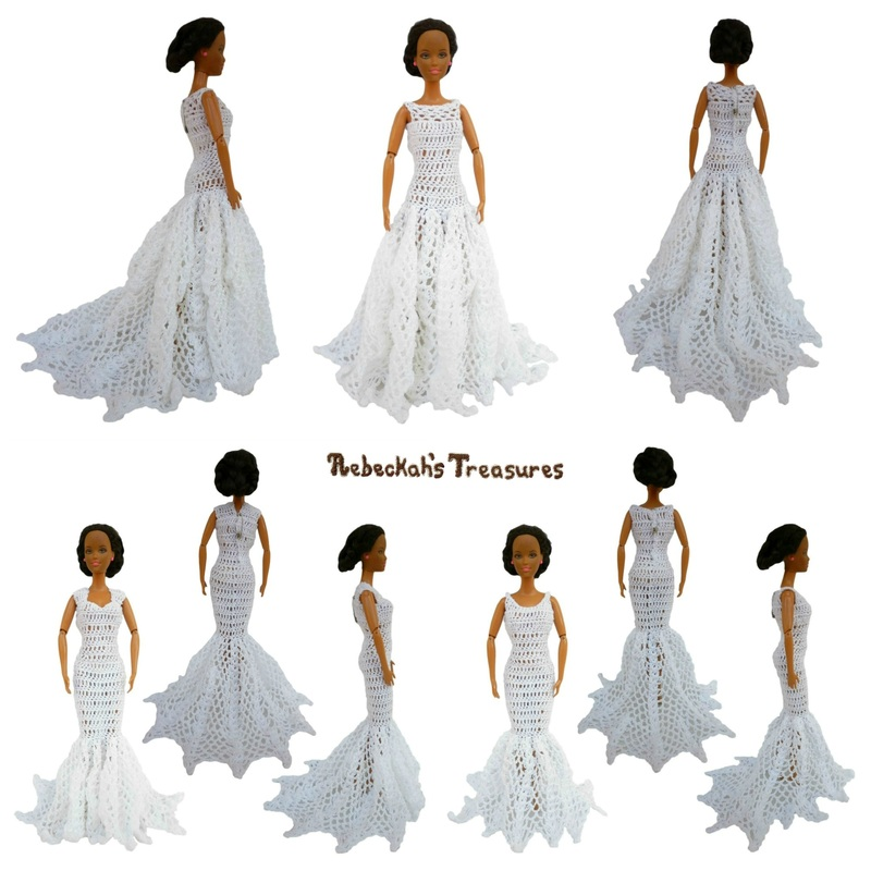 3 Barbie Wedding Gowns with Trains