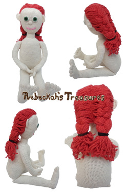 Crochet Amigurumi Dolly by Rebeckah's Treasures ~ Hair Style: 2 French Braids