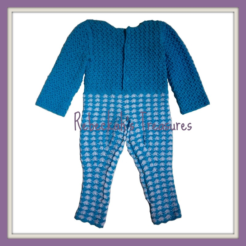 Rebeckah's Treasures' Crochet Criss Cross Diamond Romper Layette Back View