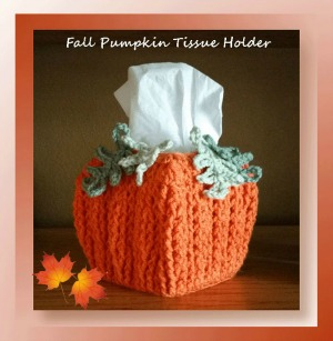 Fall Pumpkin Tissue Holder by Cylinda of Crochet Memories - Featured on @beckastreasures Saturday Link Party!