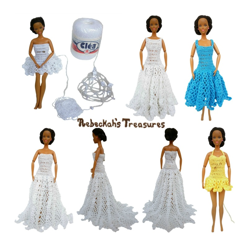 Two A-Line & Two Ball Gown Dress Previews for Barbie's New Pattern by Rebeckah's Treasures