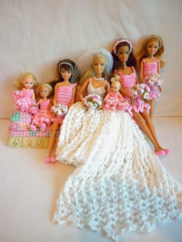 Crochet Barbie Bride, Bridesmaids & Flower Girls