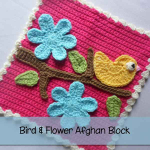 Joanita's Bird & Flower Afghan Block from Creative Crochet Workshop - Featured on @beckastreasures Saturday Link Party!