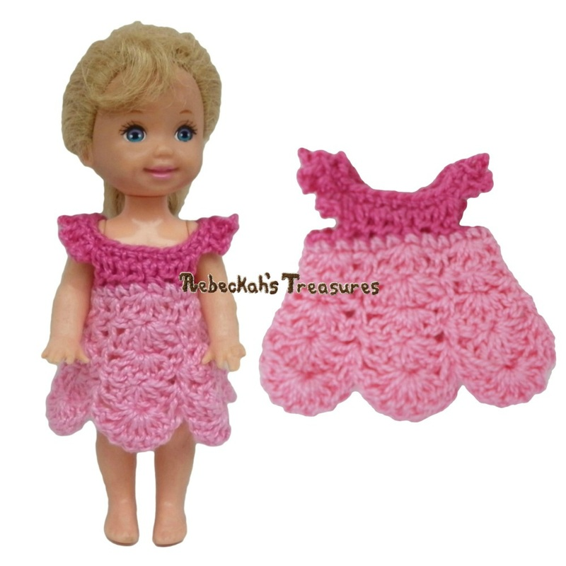 Dressy Dress 8 ~ Pretty in Pink Free Crochet Pattern for Children Fashion Dolls by Rebeckah's Treasures