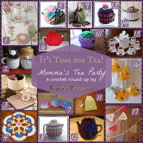Momma's Tea Party Crochet Pattern Round Up by @beckastreasures