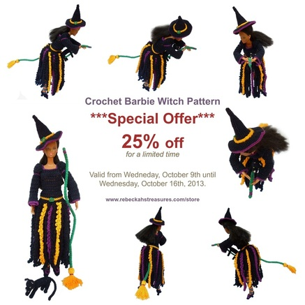 Rebeckah's Treasures' Crochet Barbie Witch Pattern is 25% OFF for a limited time only...