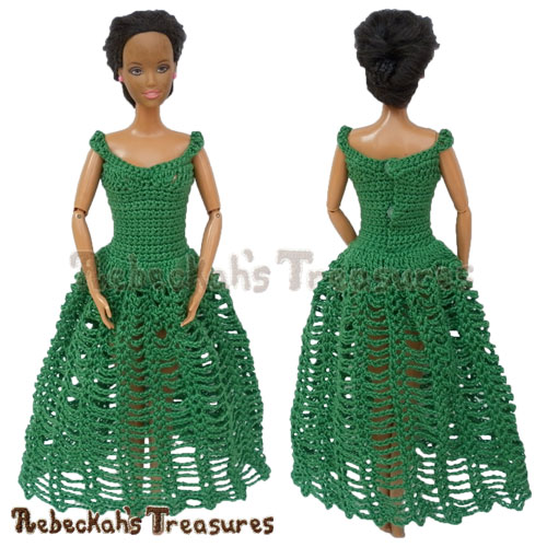 Ankle Length Dress from 8 in 1 Brassieres to Dresses for Fashion Dolls | FREE crochet pattern via @beckastreasures | One crochet pattern, a rainbow of possibilities! #barbie #crochet