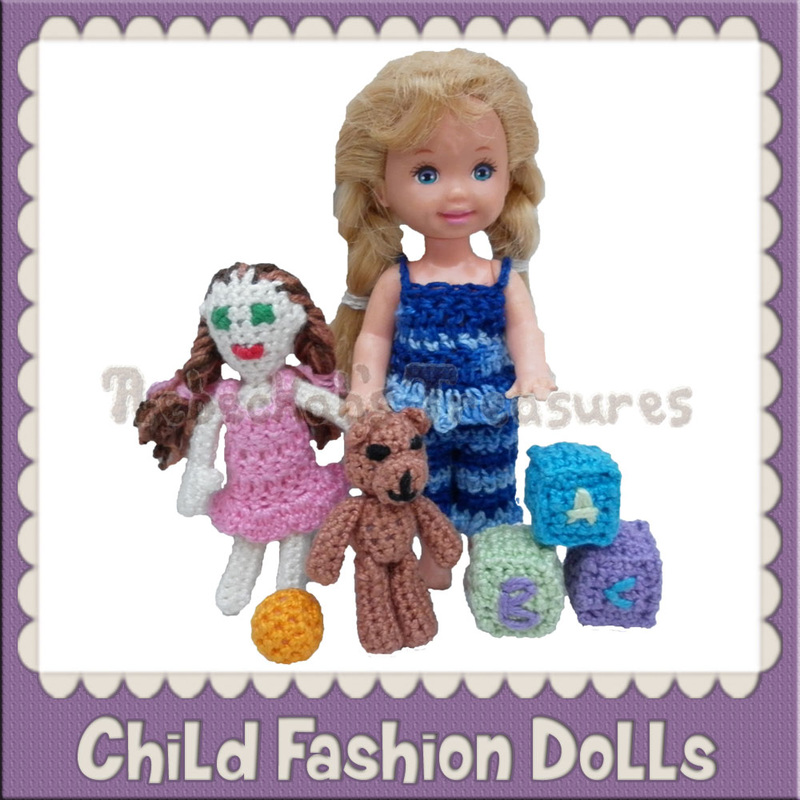 4 ½ & 5 ½ inch Child Fashion Doll Crochet Patterns by @beckastreasures