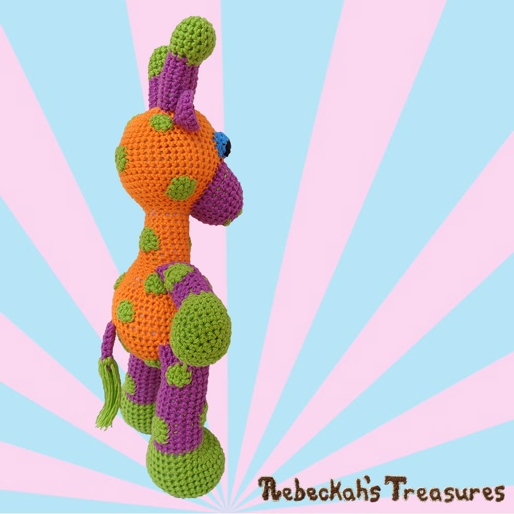 Side angle on April | #Otis #Giraffe - #Amigurumi Crochet-A-Long by @beckastreasures | #OtisGiraffeCAL Part 3: LIMBS (arms, legs, tail) - Watch 3 #Video #Tutorials AND #Download the crochet pattern for this part of the #CAL in #English #Dansk #Nederlands #Deutsche #עִברִית #Español & #Svenska! | #crochet #pattern #April #YouTube