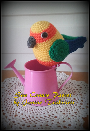 Sun Conure Parrot - Crochet Pattern by #NeensCrochetCorner | Featured at Neen's Crochet Corner - Sponsor Spotlight Round Up via @beckastreasures | #fallintochristmas2016 #crochetcontest #spotlight #crochet #roundup