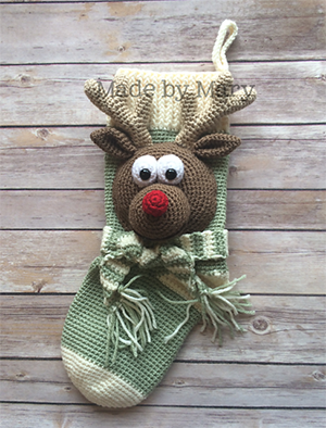 Rudolph Stocking - Crochet Pattern by #MadebyMary | Featured at Made by Mary - Sponsor Spotlight Round Up via @beckastreasures | #fallintochristmas2016 #crochetcontest #spotlight #crochet #roundup